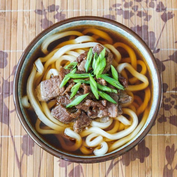 Udon beef noodles